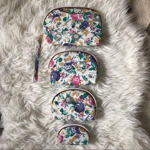 4 vintage NWOT floral cosmetic bag travel case